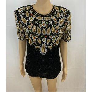 Laurence Kazar Women's Black Vintage Sequin Top